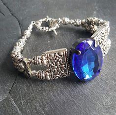 Black or Cobalt Blue Statement Bracelet Fantasy Jewelry - Handmade Jewelry - Ren Faire - DRAVYNMOOR
