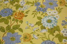 Vintage Wallpaper - Retro Floral Yellow Blue and Orange