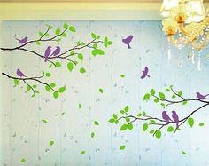 . Vinilo etiqueta de la pared pared pegatina etiqueta infantiles etiqueta aves etiqueta bebé niños - hermosas flores con pájaros volando y Birdscage  [TAMAÑO] Esta etiqueta es 320cm ancho X 92 cm de altura  [Colores] Consulte la carta de color. Usted puede elegir 1 o 2 colores para esta etiqueta de nuestra carta de color.  Si no está seguro de qué colores son los mejores para tu muro, por favor nos muestras gratis.   LO QUE HA INCLUIDO flores aves birdscage Letras Instrucciones de aplicación…