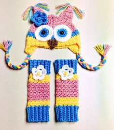 Crocheted Owl Beanie and Leg Warmer set on Etsy, $35.00