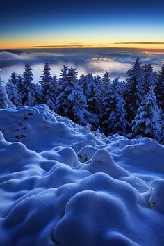 The very last glimmer of dusk over a beautiful winter lansdcape - Montlune, Auvergne, France (by Florent Courty on 500px)