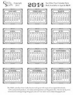 Crafty Secrets Heartwarming Vintage Ideas and Tips: 2014 Free Printable Calendars in B&W With 2 Styles and Sample Ideas!