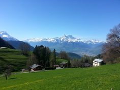 The snowy peaks of alpine mountain range sparkle at one end, while far away at distance you can see the French shores..