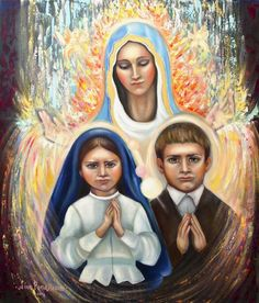 Virgin Mary apparition in Fatima original oil painting on canvas, Children of Fatima painting, Portuguese miracle painting, christian art Original Paintings, Original Art, Oil Paintings, Oil On Canvas, Canvas Art, Art Thou, Christian Art, Figurative Art, Artwork Online