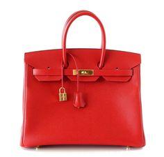 Hermes Birkin Bag 35 Rouge Casaque Gold Hardware Epsom Leather #hermes