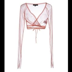 Sheer pink crop top Twin-set wrap around Sheer pink mesh wrap around crop top cover up. Super cute Italian brand. Twin-Set by Simona Barbieri Tops