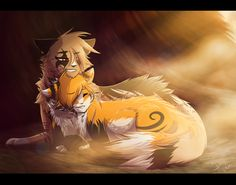 (Back to front) Hey I'm king my sister is foxblaze she is the one infriunt of me she is expecting. Kits and a tough age witch I support her we are great siblings I'll kill you if you mess with her I have no mate/:/hey I'm foxblaze I'm rough roughed serious and I'll kill you with one swipe my mate left me to fend for my kits alone so I have no mate or crush