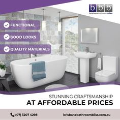 Bathroom renovations in Brisbane, QLD - work with Brisbane's trusted name in bathroom renos. Brisbane Bathroom Bliss create spacious, functional, easy-to-use bathrooms. Bathroom Renovations Brisbane, Bathroom Renos, Bathtub, Website, Design, Standing Bath, Bathtubs, Design Comics, Bath