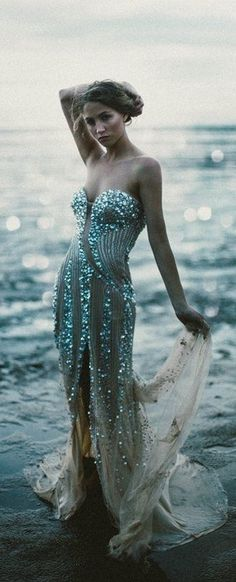 Turquoise and crystal embellished gown. Fit for a mermaid's wedding ! ♥