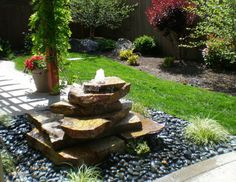 Wonderful Stone Garden Fountains Backyard Garden With Flagstone Fountain And River Rocks : Wonderful Backyard Water Fountains, Stone Garden Fountains, Small Water Fountain, Water Fountain Design, Landscaping With Fountains, Patio Fountain, Small Fountains, Backyard Water Feature, Garden Stones