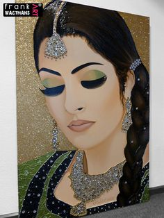 "Indian Bride Painting. Contemporary Mixed Media Art by Frank Wagtmans. DIMENSIONS: 150 x 100 cm (59.1"" x 39.4"")"