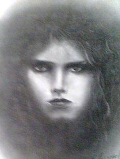 Técnica utilizada carvão em papel cansom, tema retrato