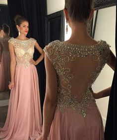 2016 Elegant Long Beaded Prom Party Dresses for Women, Blush Women's Long Prom Party Dresses   dressywomen.com