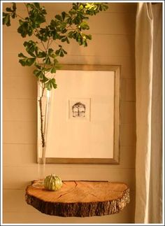 very cool idea...floating shelf out of a slice of wood with the live edge: