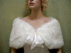 Sale Ivory faux fur bridal wrap shrug stole shawl by alexbridal, $29.99