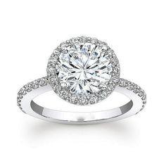 GIA Certified Round Halo Set Diamond Engagement Ring 2.19 Carat 18k White Gold #DiamondsByElizabeth #SolitairewithAccents