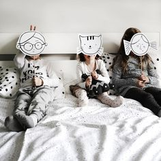 We're not tired at all! We're all ready for putting on a little play with masks. Meow!⠀ .⠀ www.ooh-noo.com