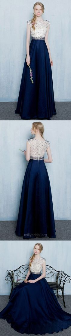 A-line Scoop Neck Lace Silk-like Satin Floor-length Beading Royal Blue Sweet Prom Dresses M1369#prom #promdress #promdresses #longpromdress #promgowns #promgown #2018style #newfashion #newstyles #2018newprom #eveninggown #scoopneck #silklike #satin #floorlength #beading #royalblue