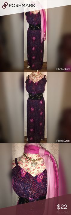 """VALENTINES SET:DRESS/SCARF/NECKLACE/BELT SZ 2X VALENTINES SPECIAL!! FOREVER 21 RED FLORAL EMPIRE DRESS SZ LG AND 18""""ACROSS THE CHEST/21""""ACROSS THE WAIST/17""""UNDER BUST/29""""ACROSS THE HIPS AND 38""""FROM THE SHOULDERS!! NEW CORSET ELASTIC BELT:4""""IN THE FRT/3""""IN BACK & 33""""-41"""" LONG! 2 TIER NECKLACE LOVE&RHINESTONE HEART/3 PAIRS OF EARRINGS AND PERFECT FOR DATE NIGHT!! Faded Glory Dresses Maxi"""