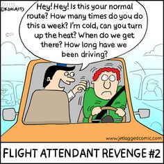 Jetlagged Comic, a cartoon for flight crews, created by current flight attendant Kelly Kincaid.