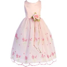 Pink Satin & Floral Embroidered Organza Overlay Girls Occasion Dress... ($75) ❤ liked on Polyvore featuring dresses, long pink dress, long cocktail dresses, tea length cocktail dresses, pink cocktail dress and sheer overlay dress