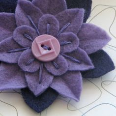 Felt Flower Pin Small Purple Eco Felt with Light Purple Vintage Button via Etsy