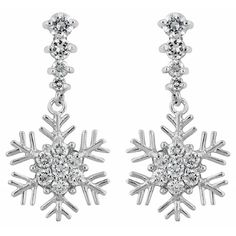 White Gold Rhodium Bonded Snowflake Drop Earrings with Round Cut Clear Cubic Zirconia in Silvertone. #mycustommade