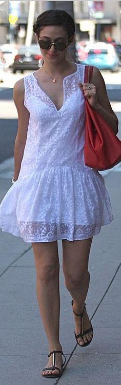 Emmy Rossum, white lace dress #celebrity #streetstyle