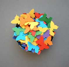 Rainbow Butterflies Confetti  Hand Punched Colorful by decoraland, €8.99