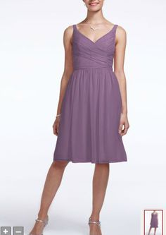 David's Bridal--$139, color is Wisteria. Link: http://www.davidsbridal.com/Product_Short-Chiffon-Dress-with-Ruching-F15603_Bridal-Party-Bridesmaids-All-Bridesmaid-Dresses
