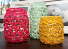 https://flic.kr/p/cheMxf | Crocheted Jar Cover | In summer colors