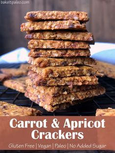 These healthy Paleo crackers are slightly chewy, with a subtle apricot flavor.  And as for the carrots, their taste is unrecognizable but offers a unique orange hue and provides a few extra nutrients. This is a delicious gluten free Vegan cracker recipe! #crackers #apricot #carrots Paleo Crackers Recipe, Homemade Crackers, Vegan Crackers, Paleo Fall Recipes, Egg Free Recipes, Blueberry Banana Bread, Paleo Banana Bread, Raw Almonds, No Sugar Foods