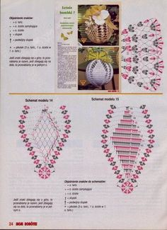 Crochet diagram for Christmas bulb ornaments. wzory na szydełkowe bombki… Crochet Christmas Decorations, Crochet Decoration, Crochet Ornaments, Holiday Crochet, Christmas Knitting, Christmas Crafts, Crochet Snowflake Pattern, Crochet Snowflakes, Crochet Patterns