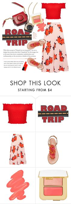 """Let's go now"" by fanfanfanfannnn ❤ liked on Polyvore featuring Miss Selfridge, Ganni, Aquazzura, Obsessive Compulsive Cosmetics, Tom Ford, MAC Cosmetics, Summer and chic"