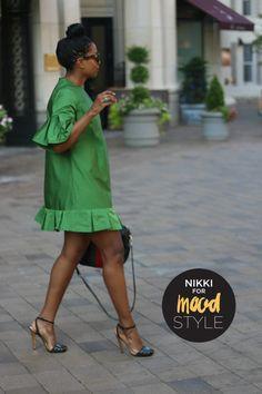 (Green silk mini dress made using vintage Simplicity 8390 with some alterations. African Fashion Dresses, African Dress, Fashion Outfits, Womens Fashion, Casual Dresses, Short Dresses, Summer Dresses, Moda Junior, Silk Dress