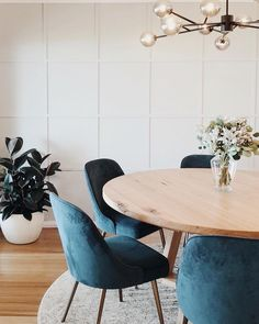 Our blue Mid-Century Velvet Dining Chair spotted looking ✨ in this dining space by @keeley_somethingmore. Shop now on westelm.com!…