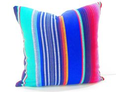 Mexican cushion cover, 16x16 Inches,Fiesta decoration, striped pillow shams, Bohemian chic decor, Mexican style Party, SARABLUE01