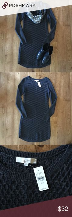 Charcoal Sweater Dress NWT Lightweight sweater dress. Perfect for cool autumn days. Tag says XST but runs short so tall fits like a regular length. Scarf pictured matches dress perfectly and is available in a separate listing. LOFT Dresses