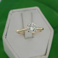 14kt Yellow Gold 1.22ct Diamond Solitaire Wedding Engagement Ring Size 7 25 | eBay