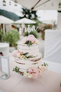 Hochzeitstorte, ohne Fondant, Semi Naked Cake, Naked Cake, Pfingstrosen, Caketopper, Weddingcake