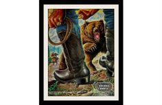 "NOCONA Cowboy Boots Bear Art Ad ""Large"" Vintage Advertising Wall Art Decor"