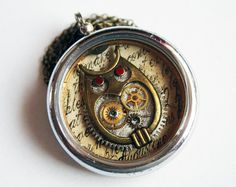 Steampunk Necklace - in a Small Pocket Watch Casing, Genuine Vintage Watch Parts, and Fine Epoxy Resin