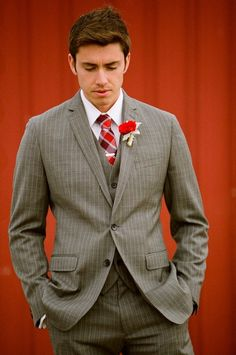 Gray Suit Groom - maybe with a bright blue instead of red
