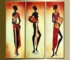 Hand Painted Artwork African Girl 3 Piece Wall Art Oil Painting Modern Art Canvas Art Gallery Wrapped Stretched and Ready to Hang 3 Piece Canvas Art, 3 Piece Wall Art, Canvas Wall Art, Canvas Size, Buy Paintings Online, Online Painting, African Art Paintings, Colorful Paintings, Oil Paintings