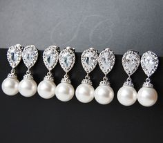Bridesmaid Jewelry Pearl Earrings Swarovski Pearls Cubic Zirconia Teardrop Bridesmaid Gift White Ivory/Cream Round Dangle Drop FREE SHIPPING on Etsy, $29.00