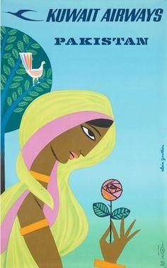 Mood Board Inspiration# RETRO Illustrations  Poster by Alain Gautier, Kuwait Airways, Pakistan.