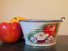 Decoupage Metal Container. Planter. Garden Container. Flower