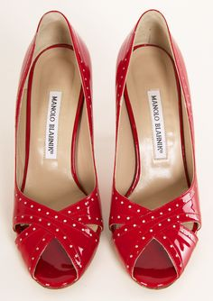 Red and white polka dot Manolo Blahnik heels