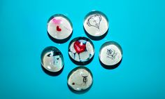 Love and Hearts Glass Button Magnets Set of Six. via Etsy.