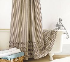 Ticking Stripe Ruffle Shower Curtain | Pottery Barn. $69.00